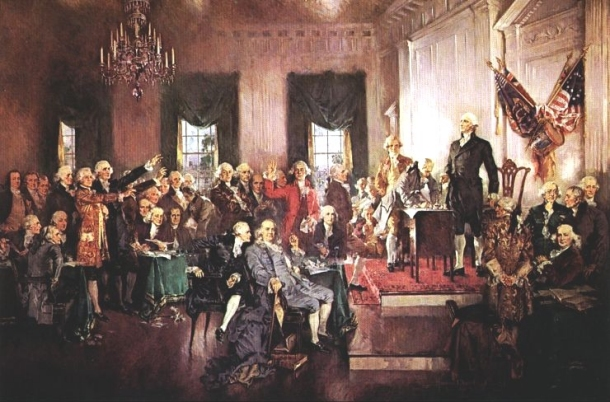 Scene of the signing of the Constitution of the United States